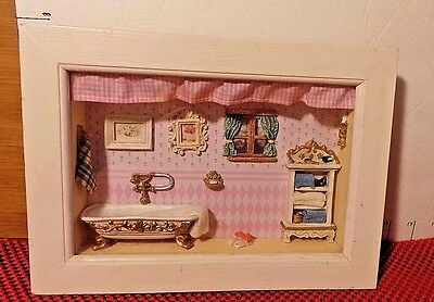Shadow Box, Bathroom Scene, Pink and White, Clever Details