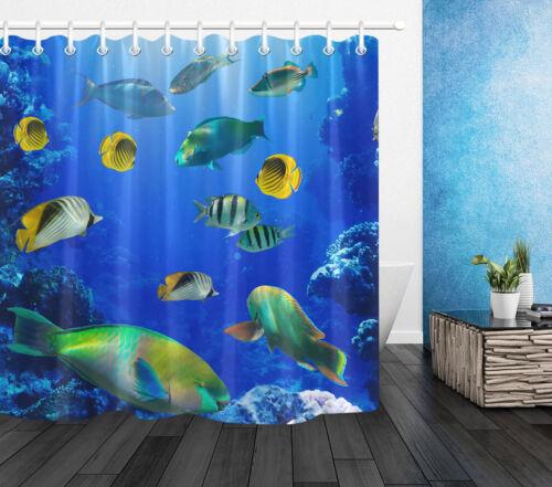 Colorful Mer Tropicale Poisson Salle de bains Rideau de douche Liner Bleu Ocean thème crochet