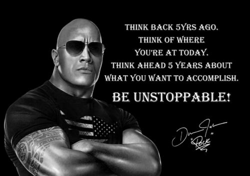 Dwayne Johnson The Rock Unstoppable American Actor Wrestler Quote Poster Photo