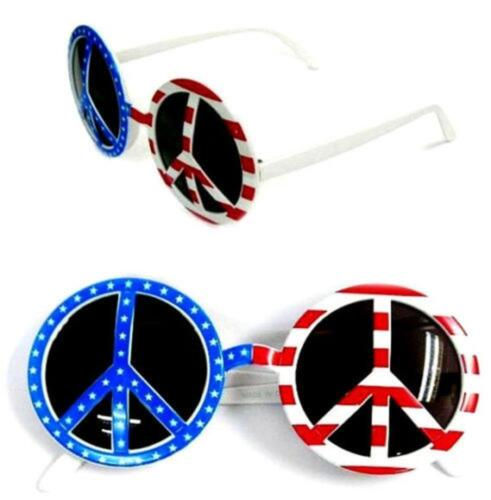 1 PAIR USA PEACE SIGN PARTY GLASSES party costume #194 american PRIDE flag hippi