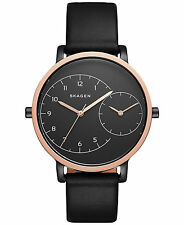 BRAND NEW SKAGEN SKW2475 AUTOMATIC BLACK LEATHER ROSE GOLD STEEL WOMEN'S WATCH