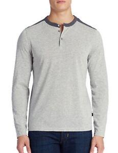 afa1e371e Boos Hugo Boss Men's Open Gray Veneto 10 Slim Fit Long Sleeve Henley ...