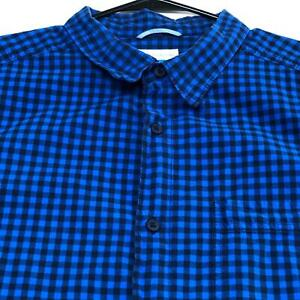 Columbia-Mens-Short-Sleeve-Button-Up-Shirt-XL-Extra-Large-Blue-Black-Check-Plaid
