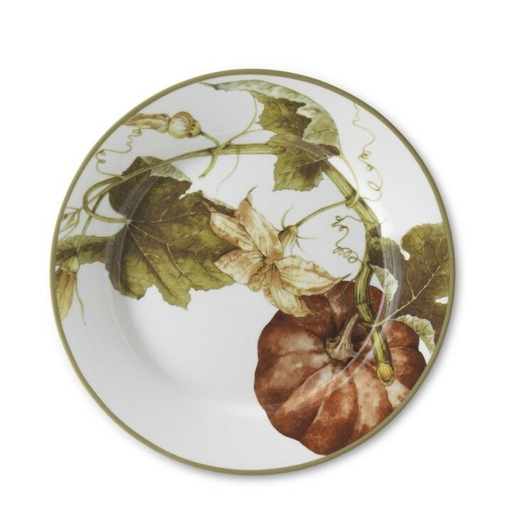 4 Williams Sonoma Botanical Pumpkin 11  Dinner Plates Thanksgiving New in Box