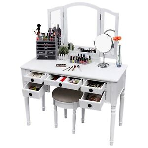 Details About Vanity Set For Girls Teen With Mirror Mirrored Desk Makeup Table Stool Seat Bed