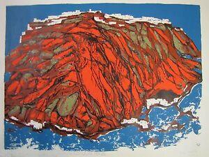 1979-T-Hellbusch-Tomaschek-SANTORIN-serigraph-le-12-28-beautiful-landscape