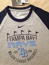 Nike Tampa Bay Rays Heathered Gray Raglan 1.5 Cotton-Blend Men's Tee Large $34