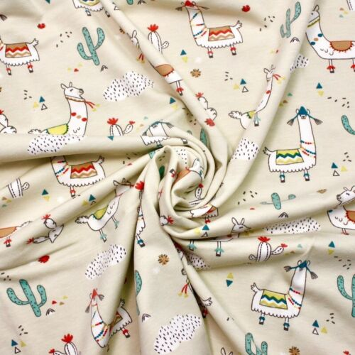 Lima Llama Natural JERSEY 100/% Cotton Fabric Childen Quilting