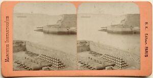 Brest-Entree-Del-Port-Francia-Fotografia-B-K-Parigi-Stereo-Vintage-Albumina