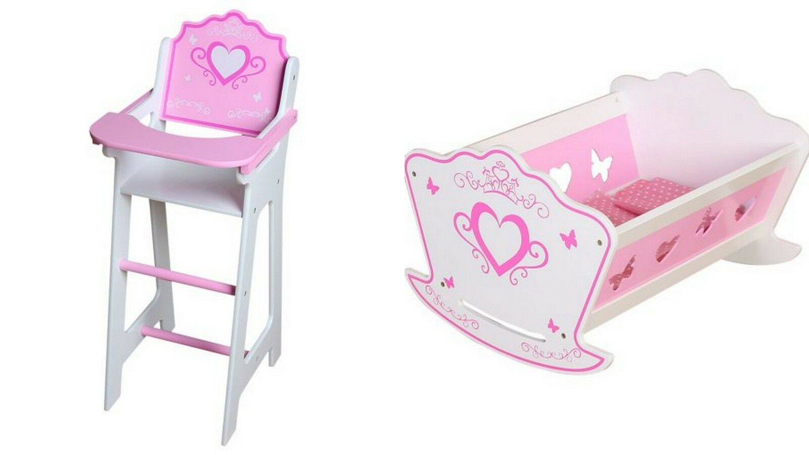 NEW Dolls Wooden Set High Chair Chair Chair Rocking Crib Cot Bed Pram Pushchair Girls Toys 3d10ca