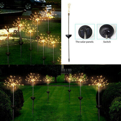 Solar Powered Garden Path Lights Starburst LED Stake Firework Light Outdoor NEW