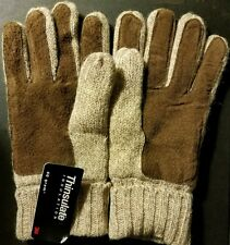 THINSULATE 40G Women's Tan Wool/Leather Knit Winter Wrist Gloves *NWT*(LG or XL)