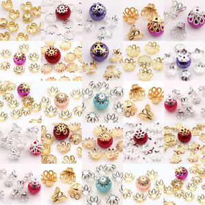 Lots-Metal-Flower-Spacer-Bead-Caps-Jewelry-Making-Finding-8-9-10-14-16mm-Crafts