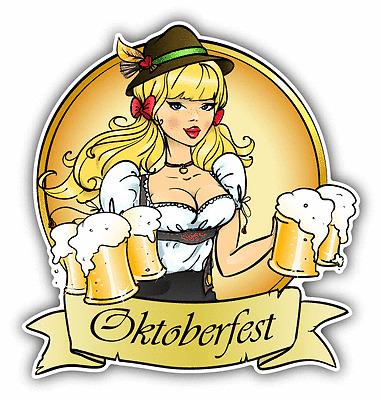 "Girl Oktoberfest Beer Pretty Blond Car Bumper Sticker Decal 5"" x 5"""