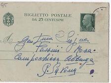 INTERO POSTALE CENT.25 1943 PER CAMPOCHIESA D'ALBENGA SAVONA C3-95
