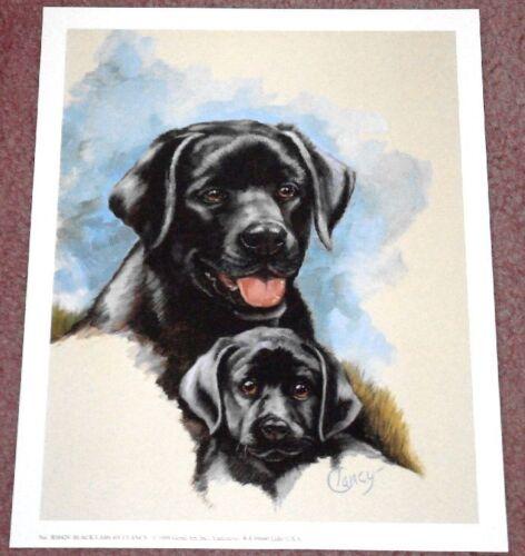Black Lab Mom with Puppy Cute 11x9 In Art Print