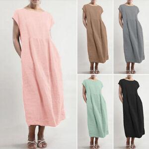 ZANZEA-Damen-Vintage-Kurzarm-Rundhals-Lang-Abendkleid-Partykleid-Shirtkleid-Plus