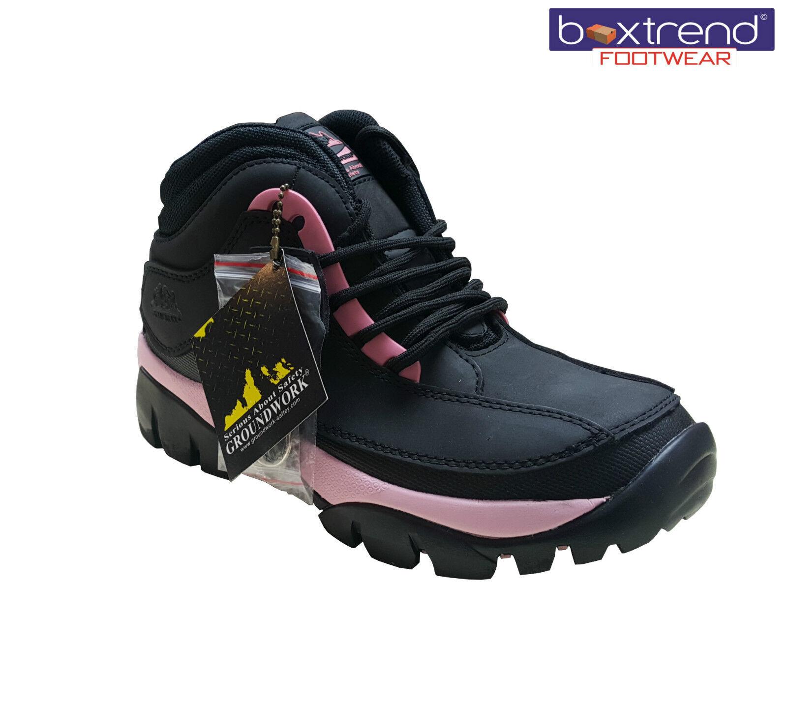 Nuevo Para Mujer Damas bases trabajo Botas De Seguridad Zapatos puntera de acero de la PAC Impermeable