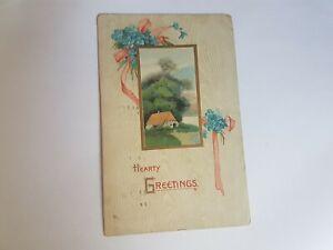 Greeting-Postcard-Vintage-Hearty-Greetings-Pink-Ribbon