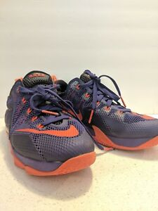 half off 1ad91 76a11 Details about NIKE LEBRON JAMES XII LOW (12) THE TWELVE purple/orange size  7y youth