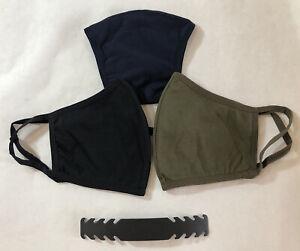 3-pack-XL-Extra-Large-Combo-Black-Navy-Olive-Face-Mask-Cotton-Blend-Washable
