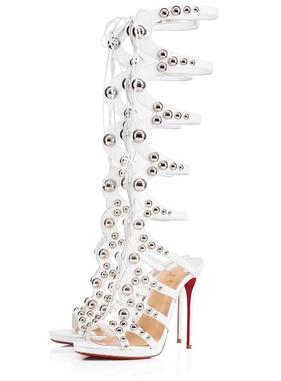 NIB Christian Louboutin Amazoutiful 120 White Silver Studded Sandal Heel Pump 38