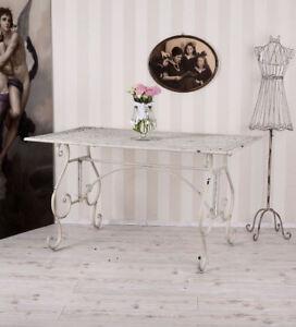 Détails sur TABLE DE JARDIN VINTAGE BLANC MÉTAL GRAND TABLE SHABBY CHIC