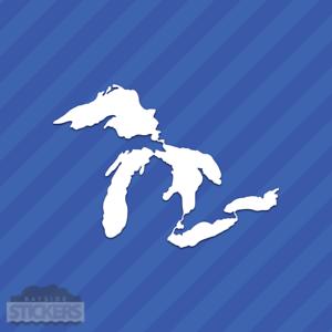 Great Lakes Contour Autocollant Vinyle Autocollant Michigan Superior Huron Érié Ontario