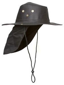 Top-Headwear-Safari-Explorer-Bucket-Hat-With-Flap-Neck-Cover-Black