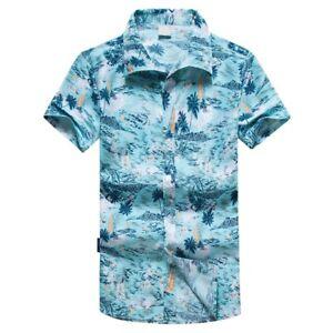 Mens-Hawaiian-Print-Short-T-Shirt-Sports-Beach-Quick-Dry-Blouse-Top-Blouse-2019