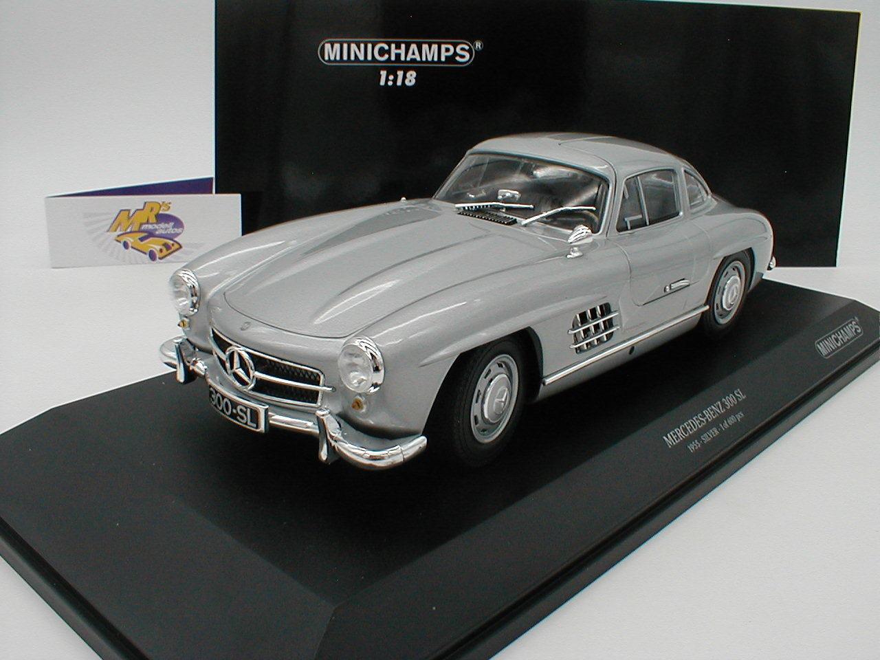 Minichamps 110037210 - Mercedes Benz 300 SL Flügeltürer Bj. 1955   silber   1 18