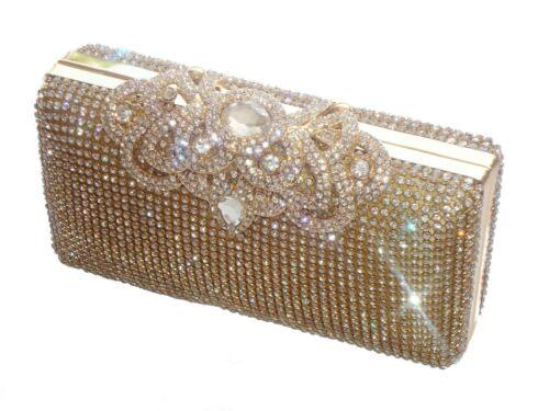 Bling Gold Diamante Diamond Crystal Evening bag Clutch Purse Party Wedding Prom