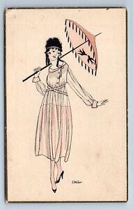 1920s-PRETTY-WOMAN-with-UMBRELLA-E-Weber-Fashion-Art-Deco-Antique-Postcard