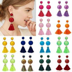 Fashion-Boho-Handmade-Ball-Tassels-Ear-Stud-Earrings-Dangle-Drop-Women-Jewelry