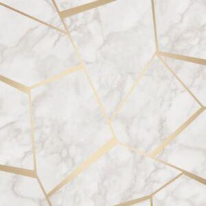 Fractal Geometrique Marbre Papier Peint Dore Blanc Fine Decor