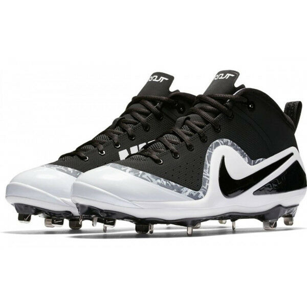 cc5ce57eb345 Nike Force Zoom Trout 4 Mens Size 13 Metal Baseball Cleats Color Black  White for sale online