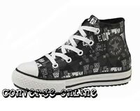 Kid Boy Girl Converse All Star Black Leather Mid Hi Top Boots Trainer Size Uk 13