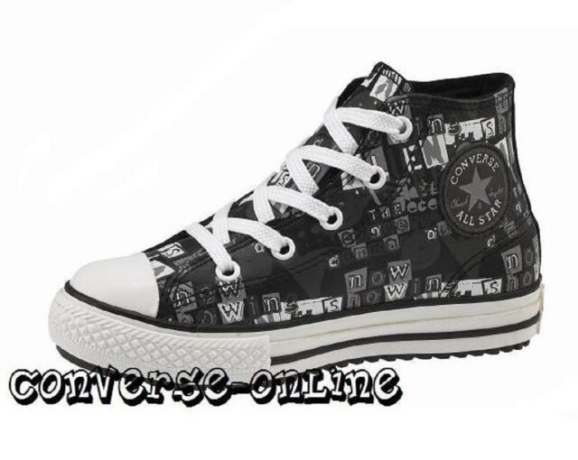 3b96e7430d99 KIDS Boy Girl CONVERSE All Star BLACK LEATHER HIGH TOP Boots Trainers SIZE  UK 13