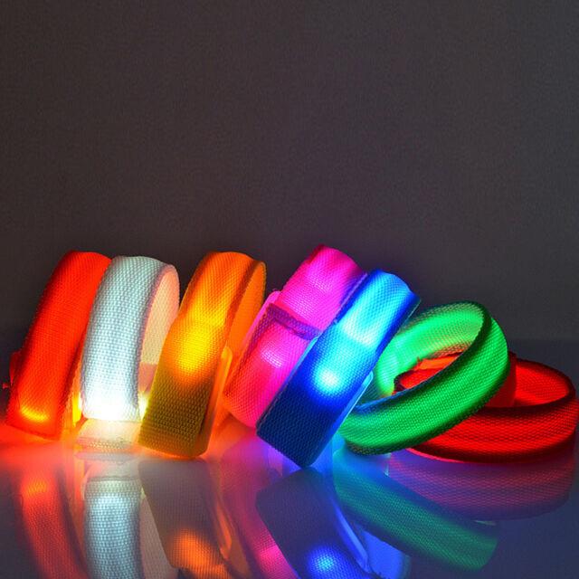 LED Flashing Wrist Band Bracelet Arm Band Belt Light Up Dance Party Glow