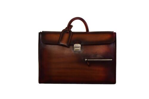 Custom berluti style patina supreme leather slim laptop office bag briefcase
