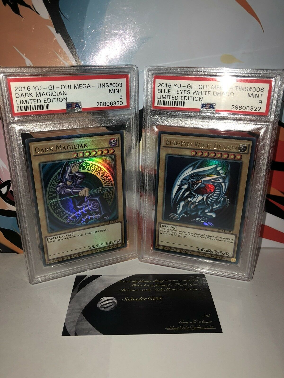 Yugioh Dark Magician  Card 003 & bluee Eyes White Dragon Card  008 PSA Mint