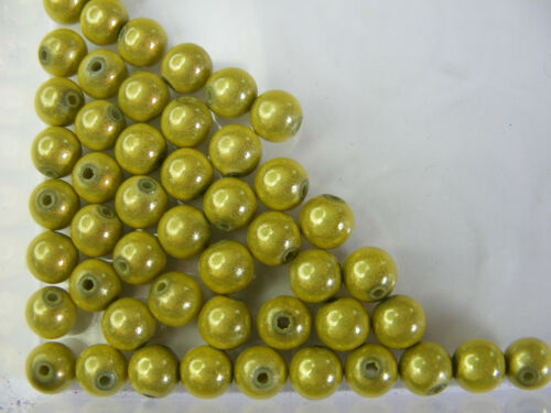 50 PERLES MIRAGE //MIRACLE //MAGIQUE 8mm VERT ANIS A143