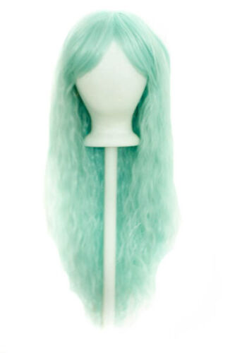 """30/"""" Crimped Cut with Long Straigh Bangs Mint Green Wig Synthetic Cosplay NEW"""