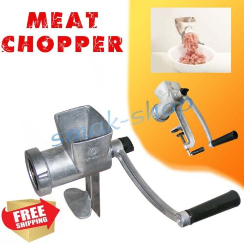 MANUAL ALUMINUM MEAT GRINDER CHOPPER MINCING MACHINE MINCER TABLE HAND CRANK