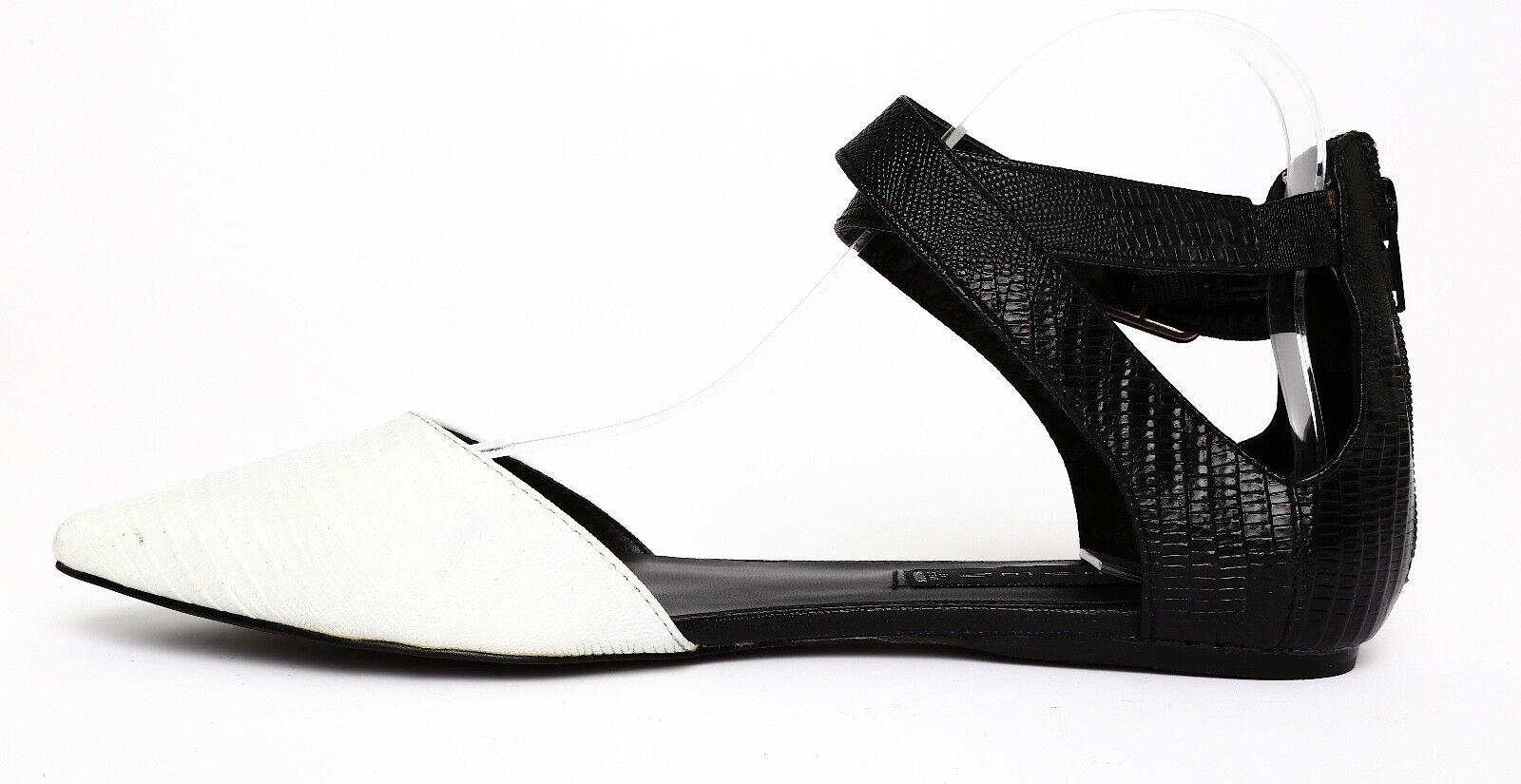 STEVEN By Steve Madden Elina blanc noir femmes Pointed Flats Sz 10 1692