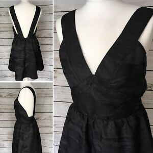 a8ee9cd4fc42 Details about New With Tags H&M Black Sparkle Shimmer Pinafore Party Dress  12 UK