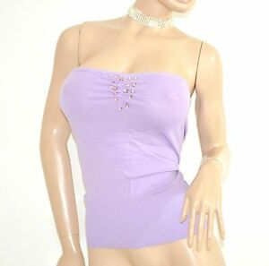 TOP-FASCIA-donna-LILLA-GLICINE-sottogiacca-strass-elegante-da-cerimonia-E55