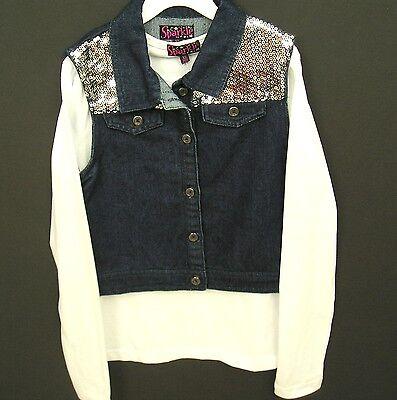 Girls Blue Jean Vest/ White Top Set Sz XL Denim Silver Sequin NWT Sparkle