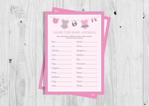 Girl. Washing Line Baby Shower Game Pink Name the Baby Animals