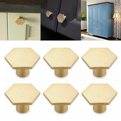 6x Hexagon Solid Brass Kitchen Cabinet, Brass Kitchen Cabinet Pulls